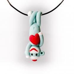 Green Sock Monkey Valentine's Day Pendant Handmade in Polymer Clay