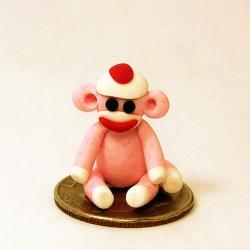 Micro Mini Pink Sock Monkey SMALLER THAN A DIME in Polymer Clay
